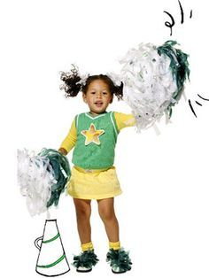 Hip, hip, hooray! Thin strips of plastic bags create authentic-looking pom-poms that are both inexpensive and easy to make.