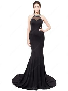 Chiffon Tulle Scoop Neck Sweep Train Trumpet/Mermaid with Crystal Detailing Ball Dresses #PLS020104149