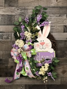 Welcome Easter Bunny Grapevine Wreath, Wooden Rabbit Sign, Peter Cottontail, Florals and Greenery Wooden Rabbit, Wreath Hanger, Easter Wreaths, Spring Wreaths, Mesh Wreaths, Peter Cottontail, Easter Crafts, Easter Decor, Easter Ideas