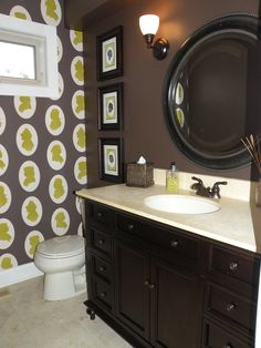 brown bathroom...with white wainscoting....hmm....maybe even leave the current dark khaki on one or two of the walls...