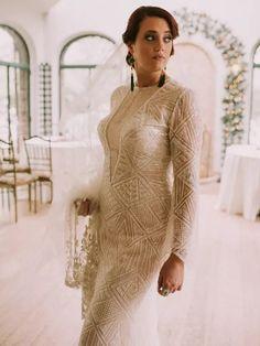 Bride wearing long sleeve beaded Art Deco-inspired wedding dress Great Gatsby Wedding, Bead Art, Wedding Inspiration, Art Deco, Bride, Wedding Dresses, Long Sleeve, Modern, Sweaters