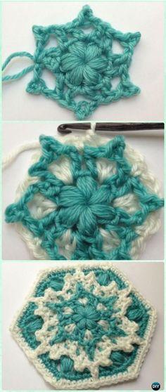 Crochet Blizzard Warning Snowflake Hexagon Motif Free Pattern - Crochet Hexagon Motif Free Patterns