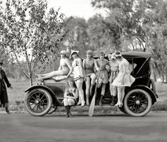 """Shorpy Historical Photo Archive :: Bathing Beauties: Washington, D.C., circa 1919. """"Sennett girls."""" Producer Mack Sennett's comedy reels featured a bevy of """"bathing beauties,"""" among them Marvel Rea, seen here in the harlequin costume. National Photo Company. View full size."""