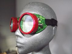 Modified and hand painted welding goggles with led light.