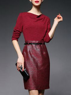 3/4 Sleeve Work Plain A-line Mini Dress