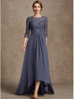 A-Line Square Neckline Asymmetrical Chiffon Mother of the Bride Dress With Appliques Lace Sequins (008235589) - JJ's House Mother Of Groom Dresses, Mother Of The Bride, Lace Evening Dresses, Fall Dresses, Brides Mom Dress, Bridesmaid Dresses, Wedding Dresses, Custom Dresses, Occasion Dresses