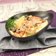 Pavé de saumon, sabayon de champagne aux crevettes roses