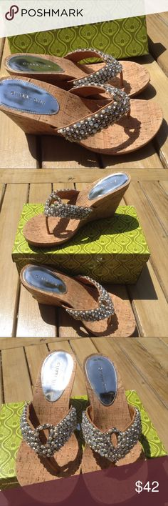 🌼🚨SALE🚨 NEW Gianni Bini Wedges Sandals 9.5 Hot stuff!  Mini gems and pearls make for super sparkle in the sun.  Dress them up or wear with your favorite cut offs and bikini top!  Similar pair in black coming soon, would make a great bundle!  Client bought for a trip to Hawaii, but decided to take tennis shoes instead!  Original box available, if desired. Gianni Bini Shoes Wedges