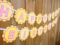 Your place to buy and sell all things handmade Cricut Banner, Pink Lemonade Party, Happy Birthday Banners, Girl Birthday, First Birthdays, Card Stock, Owl, Create, Handmade