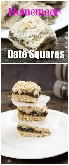 Click through to see the video! Vintage recipes like this date squares recipe are a long standing family favorite. Homemade Date Squares fresh from the oven and a big glass of milk! This recipe is so easy and freezes well too! Healthy Dessert Recipes, Vegan Desserts, Easy Desserts, Baking Recipes, Delicious Desserts, Sweets Recipes, Yummy Treats, Yummy Recipes, Recipies