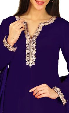 Royal Kashmiri Tilla Work Pure Silk Suit With Mukaish Dupatta Kurti Embroidery Design, Embroidery Suits, Rajputi Dress, Kurta Neck Design, Night Dress For Women, Kurta Designs Women, Dress Neck Designs, Silk Suit, Indian Designer Wear