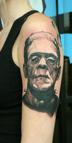 Classic horror tattoo by Teresa Sharpe #FrankensteinsMonster #horror #tattoo