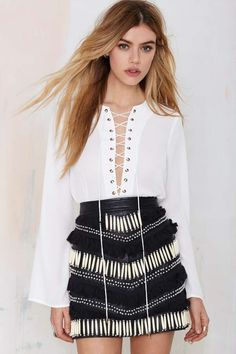 Nasty Gal Livin' After Midnight Lace-Up Blouse - Shirts + Blouses | Tops | Tops