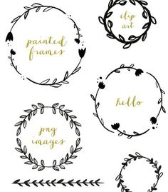 Hand Drawn Laurel Wreath Clip Art Images, Vector, and Photoshop Brushes Art Floral, Icon Set, Leaf Clipart, Clip Art, Laurel Wreath, Bullet Journal Inspiration, Doodle Art, Doodle Frames, Painting Frames