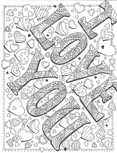 by candidaartstudio on DeviantArt Love Coloring Pages, Valentine Coloring Pages, Printable Adult Coloring Pages, Mandala Coloring Pages, Coloring Books, Coloring Stuff, Free Coloring, Art Plastique, Painting