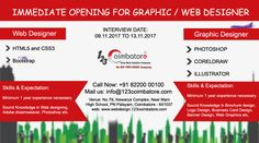 looking for Experienced Graphic Designer / Web Designer Free Web Design, Web Design Tips, Web Design Services, Web Design Company, Site Design, Web Design Quotes, Job Opening, Coreldraw, Web Development