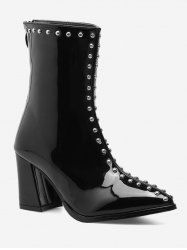 Patent Leather Stud Pointed Toe Ankle Boots - BLACK