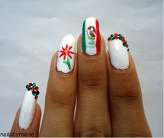 Mexican flag inspired nails for Cinco de Mayo