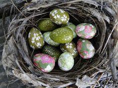 Green Easter Eggs, Tiny Wren Eggs, Decoupage Eggs, Japanese Chiyogami Paper, Easter Ornament, Green Eggs