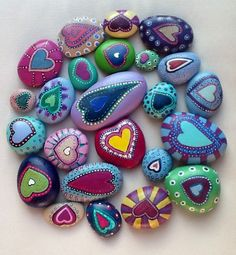 heart painted rocks--possible auction project