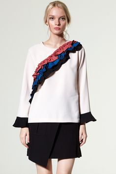 Suzi Rainbow Ruffle Blouse Discover the latest fashion trends online at storets.com #Choker Off the Shoulder Top  #Frill Layered Sleeve Sweater  #Off the shoulder Shirt Dress