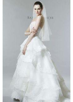 Elegant Strapless Organza Bridal Wedding Dresses