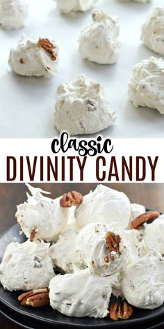 Divinity Candy is a Southern classic. Just one bite and you'll be hooked on this chewy, soft vanilla treat packed with crunchy pecans! Candy Recipes, Dessert Recipes, Grandma's Recipes, Lemon Recipes, Divinity Candy, Divinity Recipe, White Desserts, Chocolate Covered Peanuts, Shugary Sweets