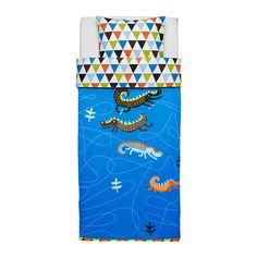DRAKDJUR Enkelt sengesett, blå blå 150x200/50x60 cm