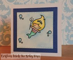 Lawn Fawn Mermaid for You stamps coloured with Inktense Pencils