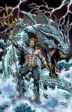 One thing I definitely want to see in the Aquaman solo movie is mythical ocean creators. Show me Aquaman controlling a Kracken or the Megladon shark! Get weird with it and don't hold back! Marvel Dc Comics, Anime Comics, Aquaman Dc Comics, Heros Comics, Hq Marvel, Comic Manga, Dc Comics Superheroes, Dc Comics Art, Dc Heroes