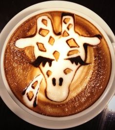 .·:*¨¨*:·Coffee♥Art:*¨¨*:·.  #Giraffe #latte art #coffee