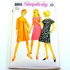 60s Vintage Mod Dress Pattern Tent A-Line Mad Men Secretary Sewing Simplicity 6865 Women Size 10 Bust 31 Uncut