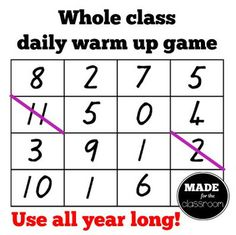 Cross It! Basic facts warm up game. Whole class. Suitable for multi-level groups. Games For Grade 1, Class Games, Math Addition Games, Addition Facts, Warm Up Games, Kindergarten Math Games, Preschool, Daily Math, Daily 3