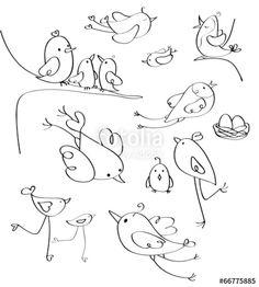 Spectacular Obtain vector royalty free vector Vector birds silhouettes. designed by rvika a . Bird Drawings, Doodle Drawings, Doodle Art, Bird Doodle, Bird Coloring Pages, Adult Coloring Pages, Coloring Books, Bird Silhouette, Silhouette Design