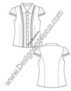 V63 Ruffle Trim Blouse Flat Fashion Sketch Illustrator Free