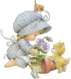 What a sweet image of this little girl and friends gardening....too cute!!
