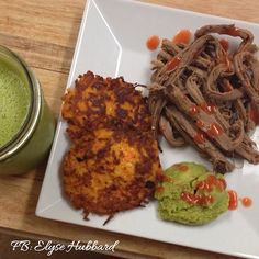 Breakfast was great. Leftover brisket, sweet potato hash cakes, and a green smoothie. Oh and yessss red hot. Sweet potato hash cakes ✅2 cups shredded sweet potato ✅3 eggs ✅1/2 cup almond flour ✅1 tbs minced garlic ✅1 tbs onion powder ✅salt and pepper to taste ✅Mix all ingredients and make palm sized patties. ✅cook in ghee or oil of choice on stove-about 4 minutes each side until cooked ✨enjoy and tag me if you make them! https://www.facebook.com/TeamJERF