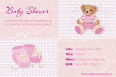 Print your own invitation. Baby Shower Invite - Girl Bootees Design