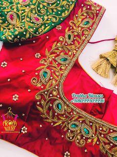 Wedding Saree Blouse Designs, Pattu Saree Blouse Designs, Fancy Blouse Designs, Maggam Work Designs, Work Blouse, Simple, Red, Needlepoint, Indian Embroidery