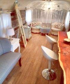 Inside the Bridal 'Armadillo' - a vintage Silverstreak - where the bride and her girls get ready for weddings at Dimebox Ballroom in Georgetown, Texas. #rustic #vintage #wedding #bride #country #bridal #suite #texas #hillcountry #dimeboxballroom