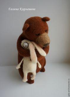 Купить Мой нежный друг... - коричневый, Сухое валяние, Валяные игрушки, медведь игрушка, медведь