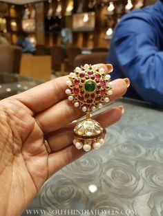 Pearl+Kundan+Jhumka+From+Bhavani+Jewellers