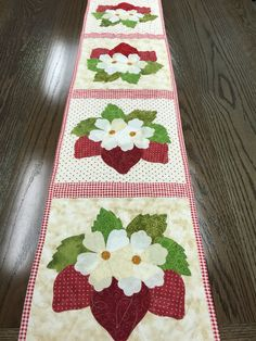Shabby Fabrics strawberry appliquéd quilted table runner. Summer cuteness!