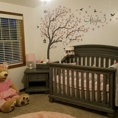 Wall Decal Kids Nursery Name Custom Tree Wall Decals Personalized Names And Birds Cherry Blossom Tree Wall Decals Decor Wall Art Sticker Custom Wall Decals, Kids Wall Decals, Nursery Wall Decals, Cherry Blossom Tree, Blossom Trees, Tree Wall Decor, Wall Art Decor, Nursery Name, Baby Decor