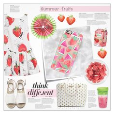 """""""☏ Watermelon/ Strawberry Case"""" by paty ❤ liked on Polyvore featuring KAROLINA, Post-It, Casetify, FRUIT and Tommy Hilfiger"""