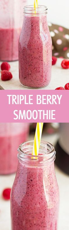 Refreshing, healthy and sweet triple berry smoothie recipe made with only few ingredients. This is great and yummy drink for snack or breakfast! by ilonaspassion.com I @ilonaspassion