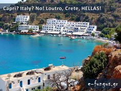 A scene from charming Loutro on the Greek island of Crete Vacation Destinations, Dream Vacations, Crete Island, Greek Isles, Capri Italy, Travel Memories, Beautiful Places, Places To Visit, Around The Worlds