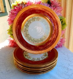8 Gorgeous Vintage 22K Gold Gilt Porcelain Plates ~ Red Maroon ~ Gold Encrusted