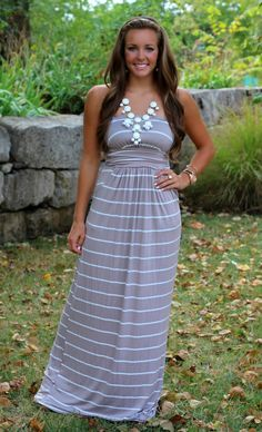 The Pink Lily Boutique - Fall My Way Taupe Maxi, $36.50 (http://www.thepinklilyboutique.com/fall-my-way-taupe-maxi/)