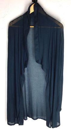 Bidding ends 1 hr eBay! #HelmutLang #DrapedCardigan Fine Ribbed Sheer top Sz S Gray Blue New NWD